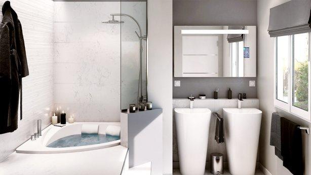 Salle de Bain Moderne haut de gamme avec baignoire Balnéo
