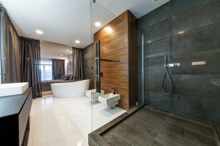 Salon gris et blanc chambre cosy et salle de bains moderne