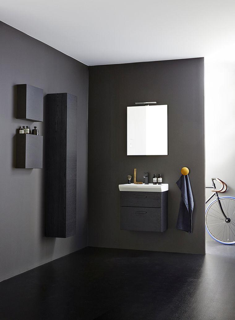 La salle de bain déco noir de style moderne et contemporain