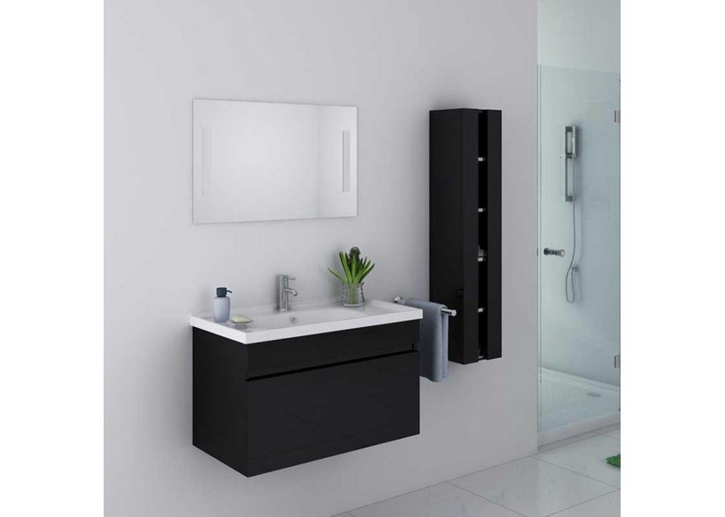 Meuble de salle de bain noir brillant 1 vasque meuble de