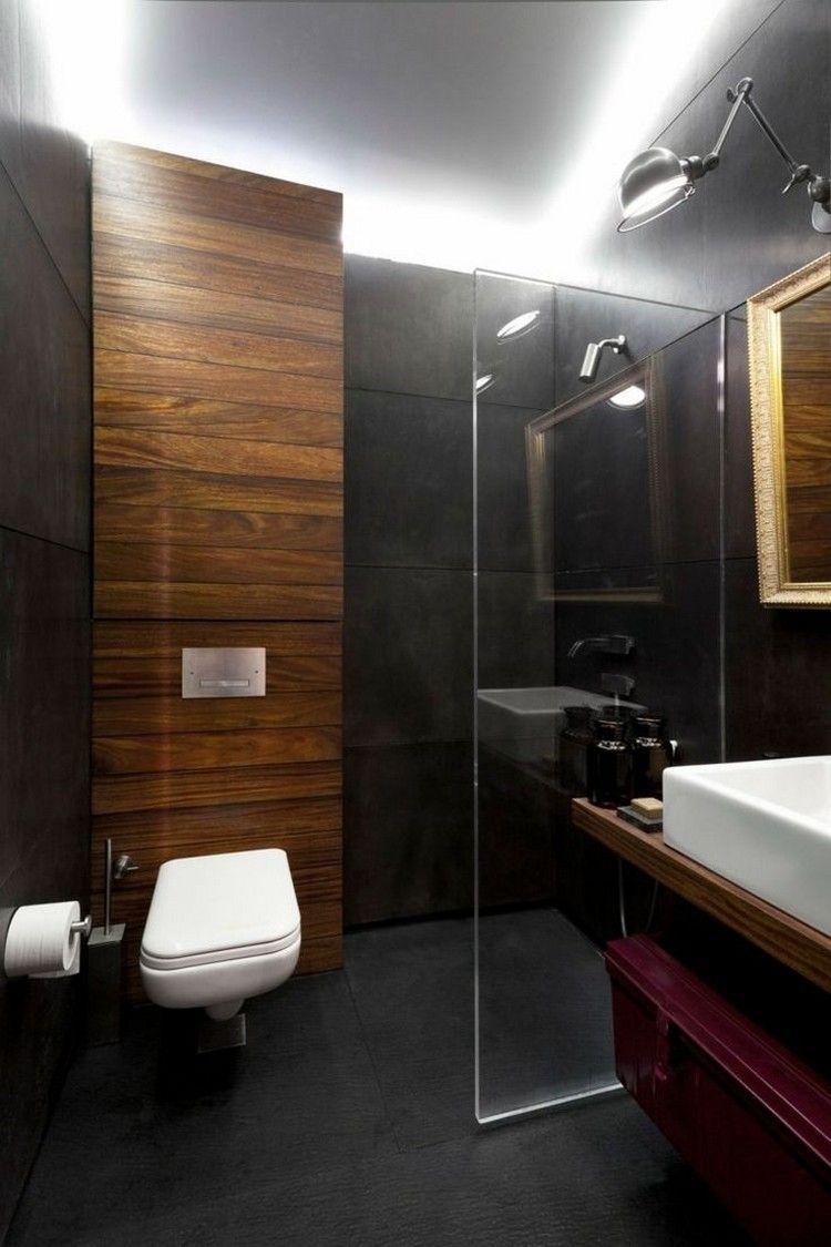 salle de bain noir et bois et lambris bois carrelage