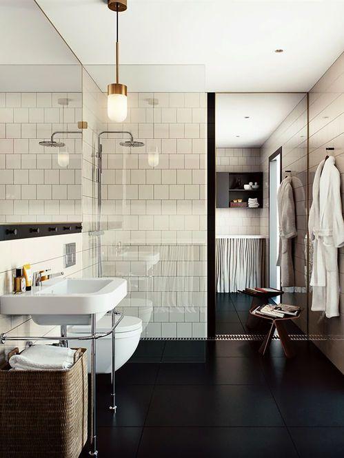 Salle de bains moderne avec sol noir en 2018