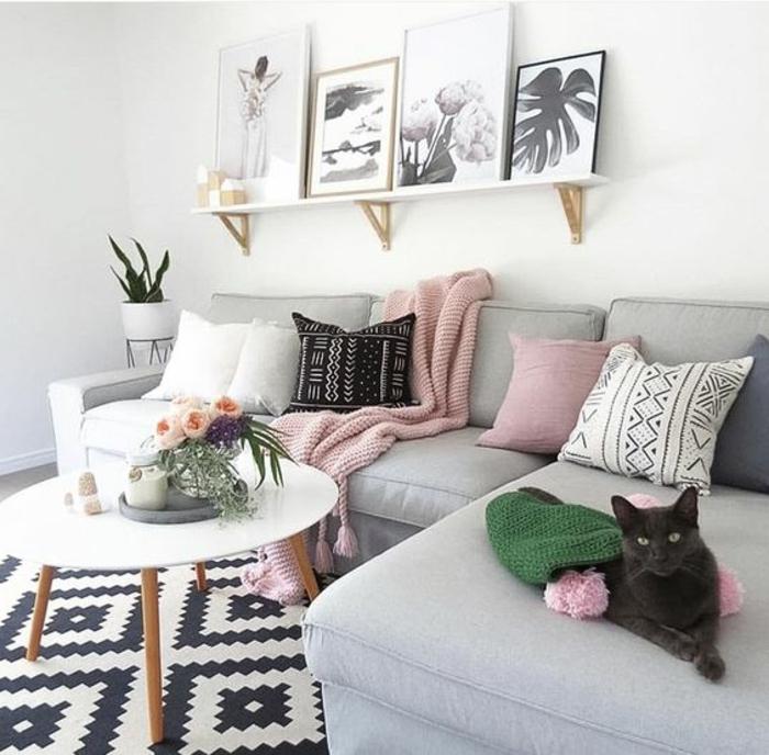 1001 idées déco originales pour le salon rose et gris
