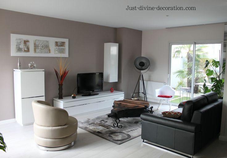 Séjour contemporain taupe gris blanc noir