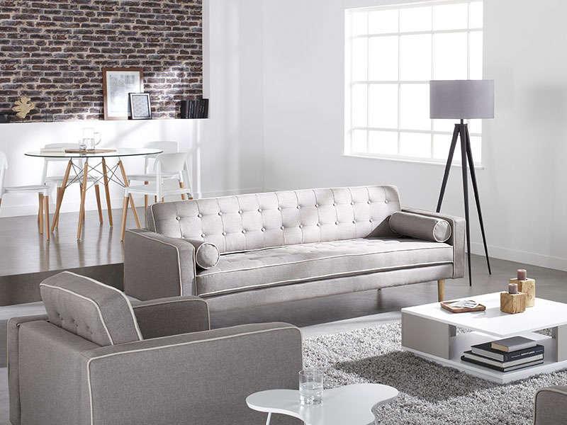Canapé en tissu gris et blanc 3 places TORVALD Achatdesign