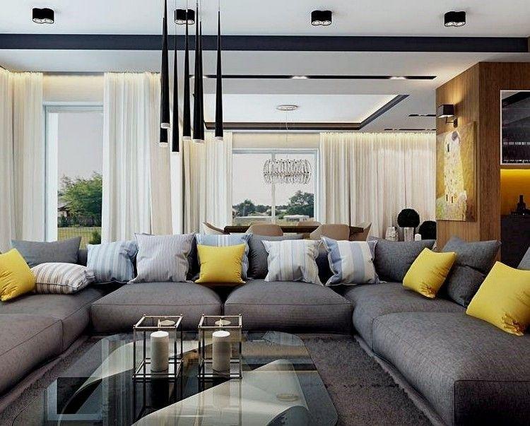 Canapé gris moderne 55 modèles d'angle ou droits foncés