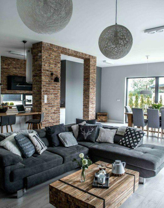 Déco Salon formidable studio avec un salon gris et blanc