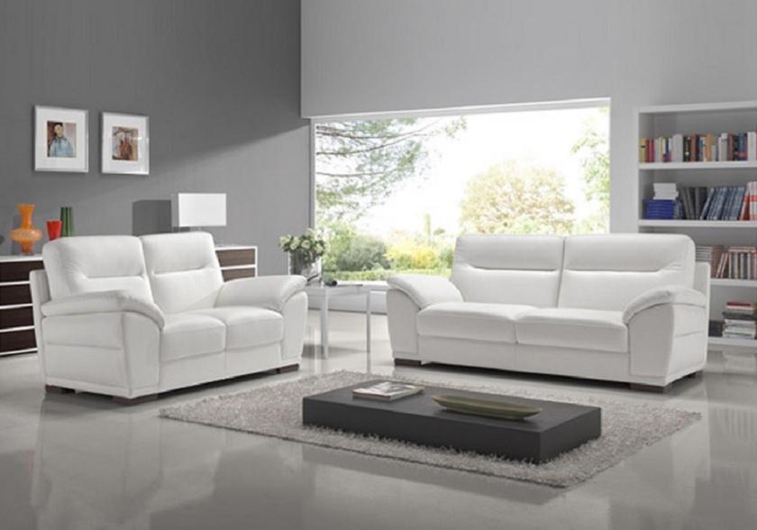 Canapé cuir design blanc CALINO Canapé & Salon Cuir