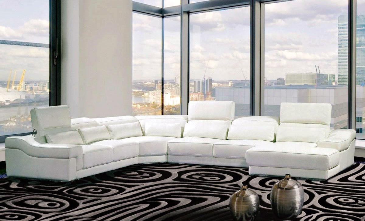 DECO IN PARIS Canape panoramique cuir blanc avec