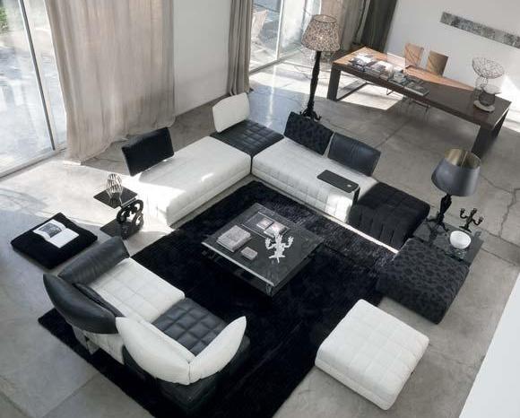 Salon cuir noir et blanc