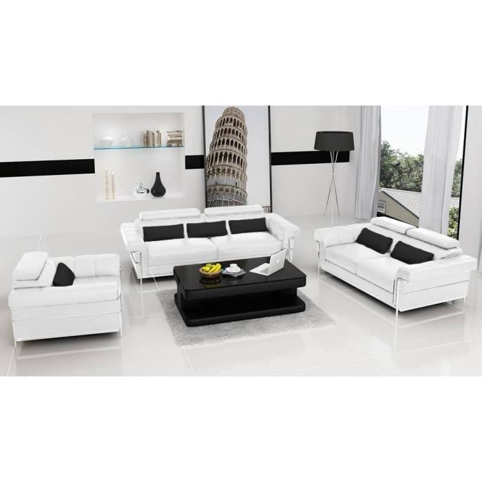Salon plet design Romantica Blanc Cuir PVC Achat