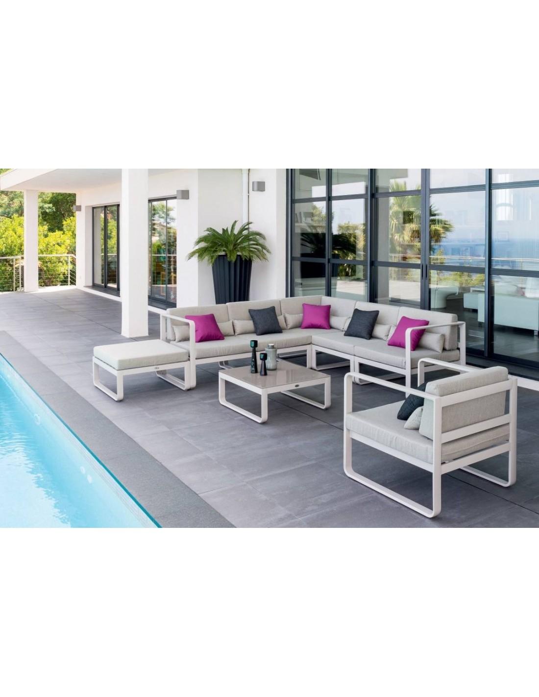 Salon de jardin Absolu 7 places en aluminium Hespéride