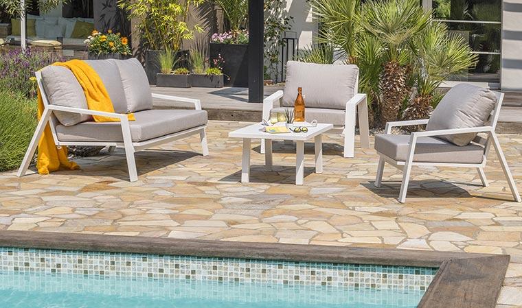 Salon de jardin en aluminium blanc 5 places Ibiza