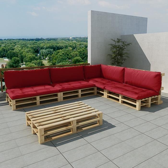 Salon de jardin 15 pcs en palette avec coussins rouge