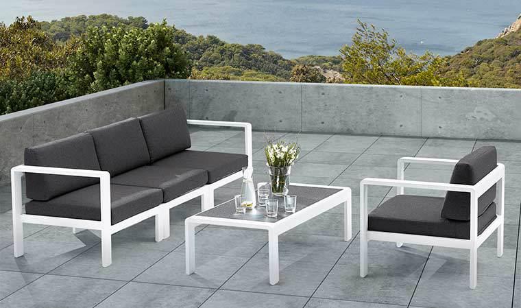 Salon de jardin bas blanc et gris anthracite 4 personnes