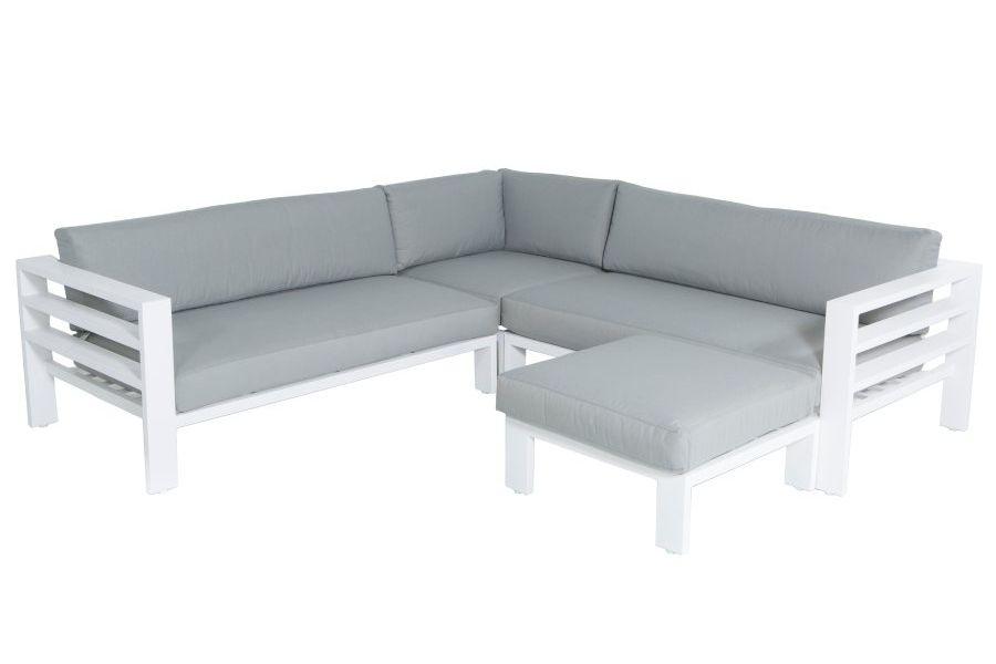 Salon de jardin design alu blanc et coussin gris Leon