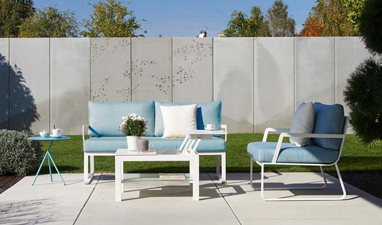 Salon de jardin design bleu ciel et blanc 3 places Tampa