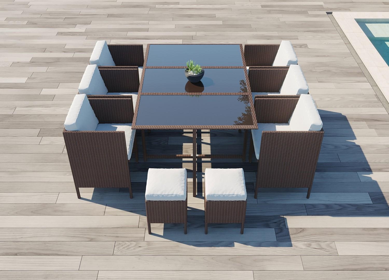 Salon de jardin encastrable 10 places marron blanc Daytona