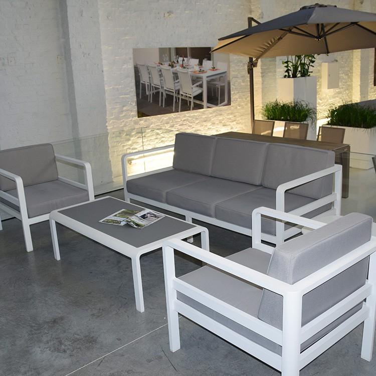 Salon de jardin gris blanc Mailleraye jardin