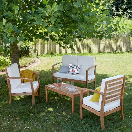 Salon bas de jardin en bois d acacia Bois dessus bois
