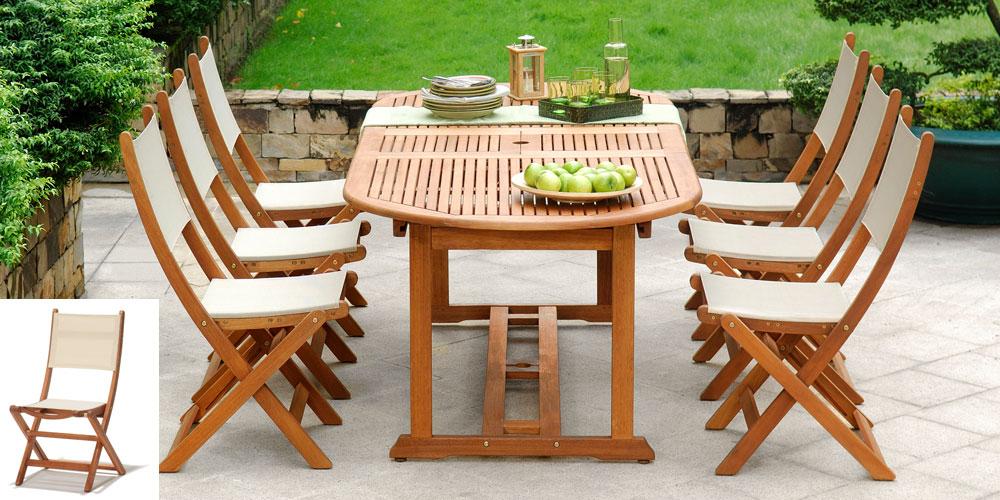 Salon de jardin bois eucalyptus Porquerolles table