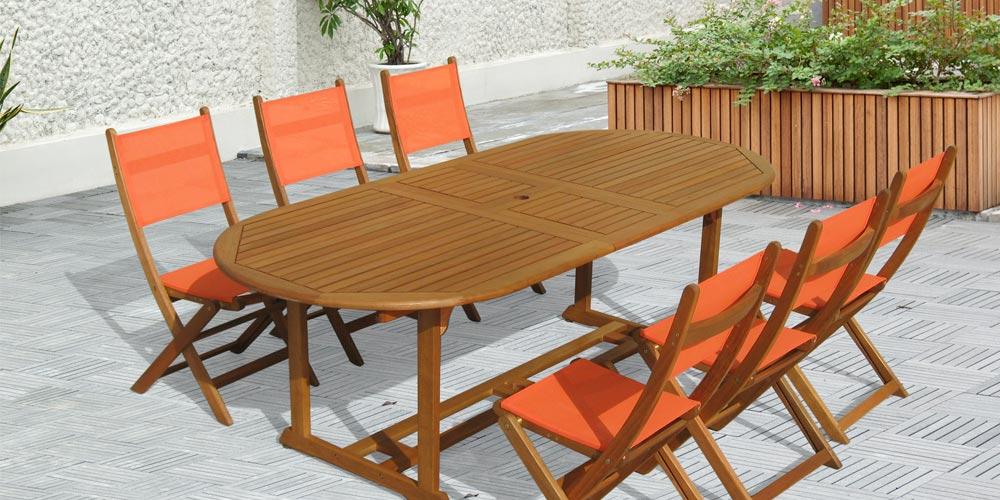 Salon de jardin bois INCA table ovale 6 chaises