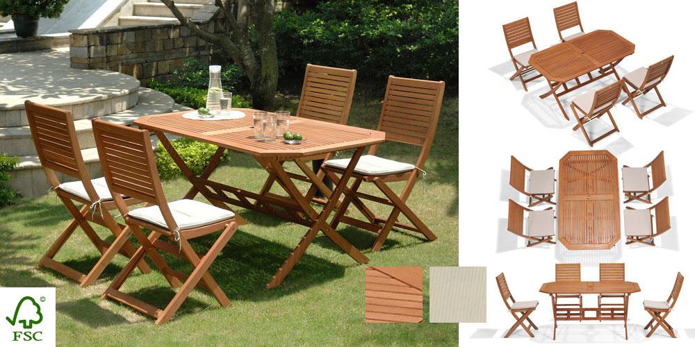 Salon de jardin bois Primero table octogonale 4