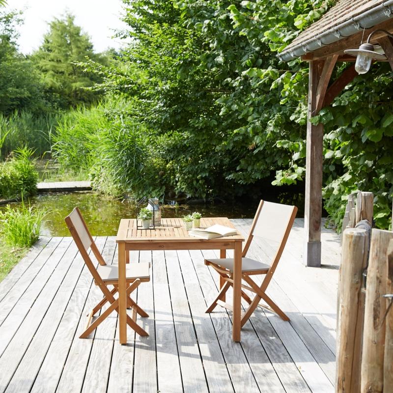 Salon de jardin en bois d acacia 2 places Bois dessus
