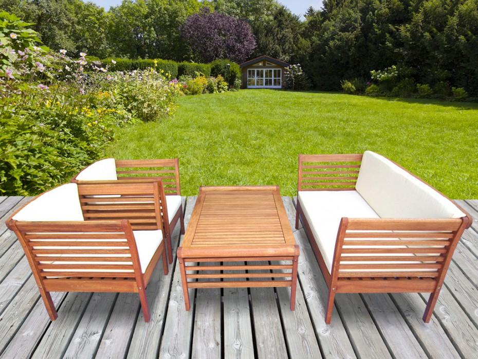Salon de jardin en bois d eucalyptus 1 canapé 2