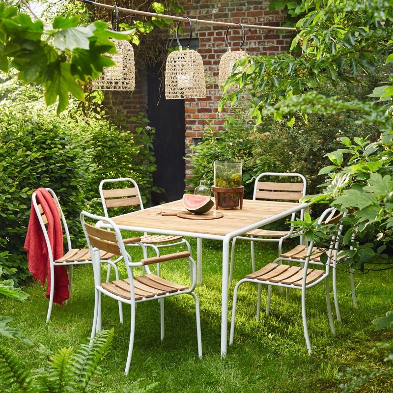 Salon de jardin en bois et métal Bois dessus bois dessous