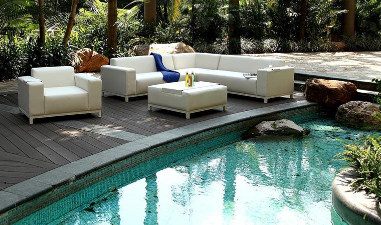 Salon de jardin blanc crème luxe en cuir PU 8 places Dubaï