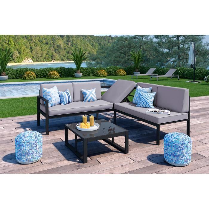 LOUNGITUDE salon de jardin 1 table basse canapé d angle