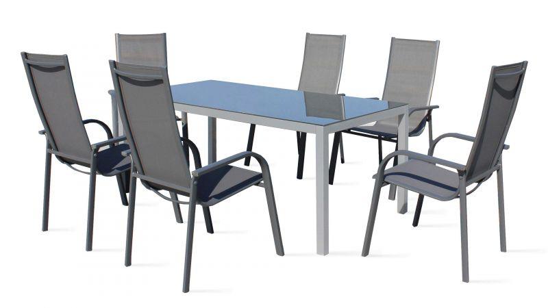 Salon de jardin 6 places aluminium et textilène