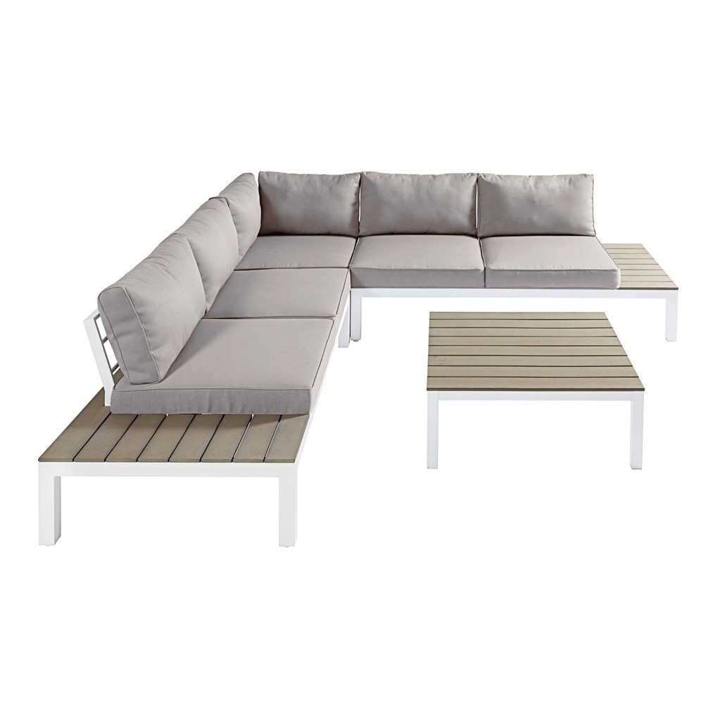Salon de jardin 6 places en posite aluminium blanc et