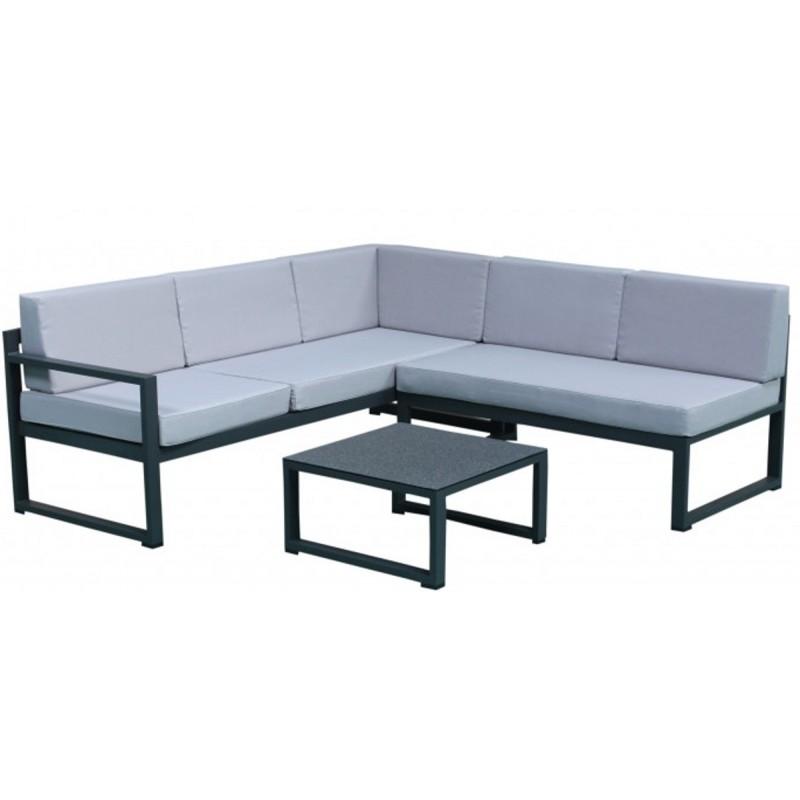Salon de jardin d angle modulable en aluminium 5 places Max