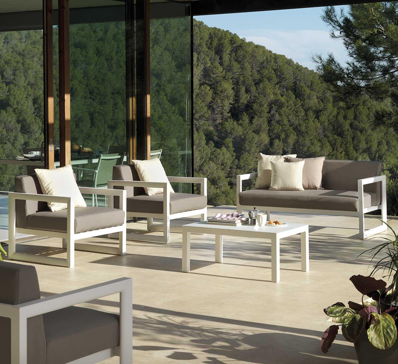 Salon de jardin en aluminium blanc Brin d Ouest