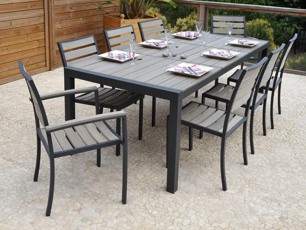 "Salon de jardin en aluminium ""Newport"" Table 6 chaises"