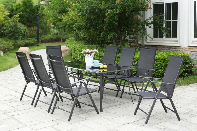 Table de jardin 10 personnes 8 chaises en aluminium