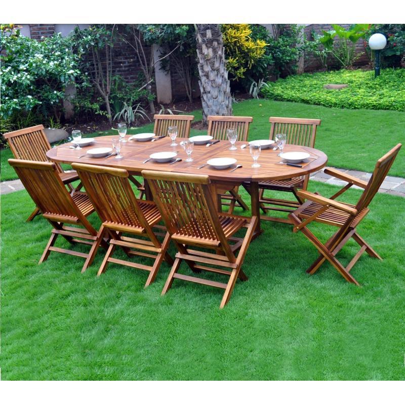 Salon De Jardin En Bois Pas Cher Ensemble En Teck De Jardin Bois Huilé 8 10 Places