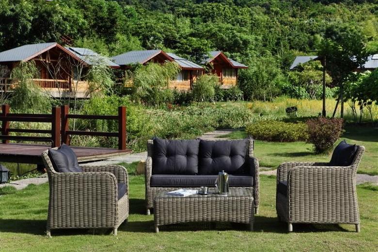 Salon canap de jardin en rsine tresse ronde osier naturel