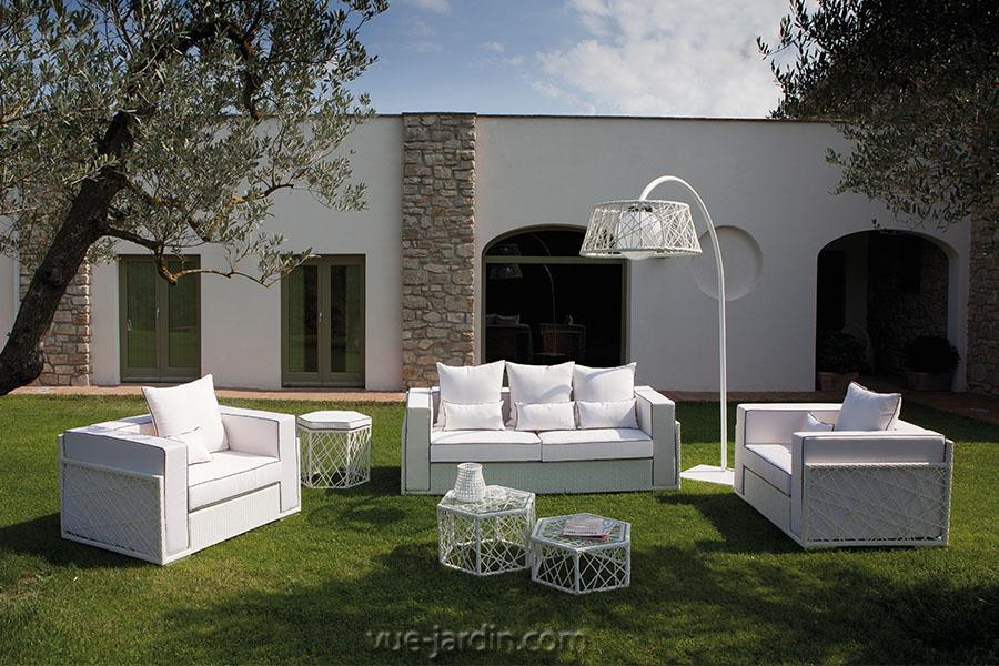 Salon de Jardin design en osier blanc ou noir Spider de
