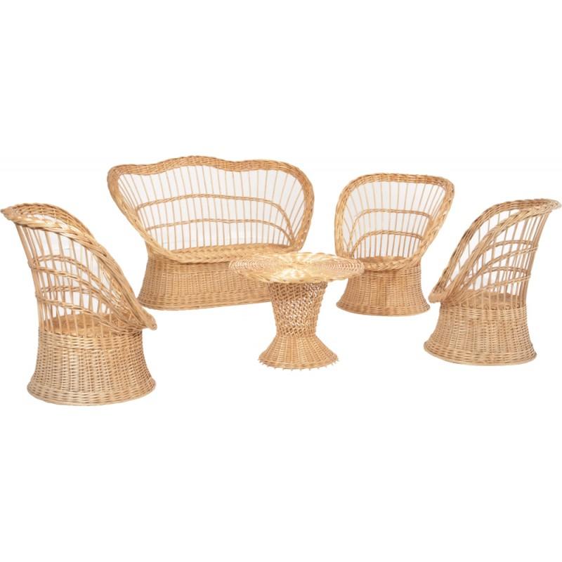 Salon de jardin vintage fauteuils et table en osier 1960