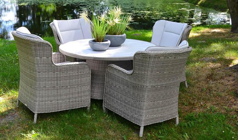 Salon de jardin rond en résine tressée grise 4 places luxe