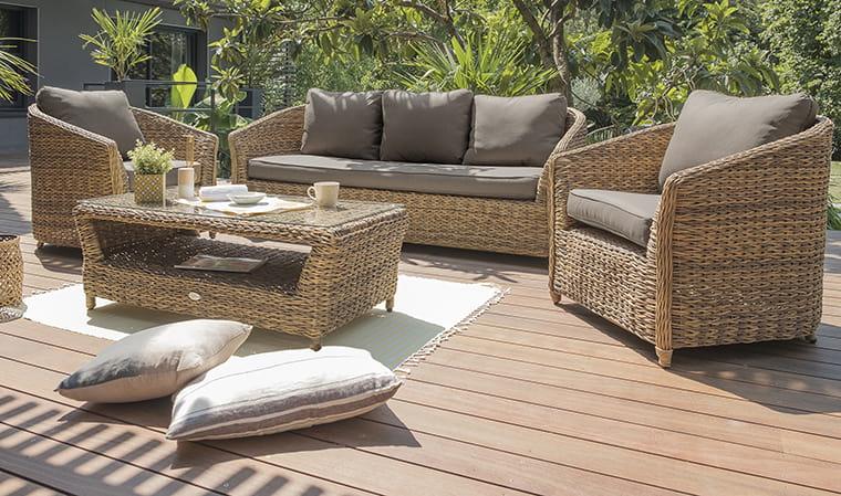 Salon de jardin en résine tressée marron 5 places Havana