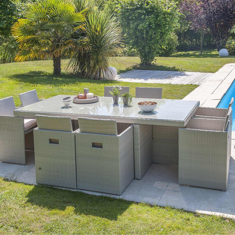 Salon de jardin Encastrable résine tressée gris 1 table