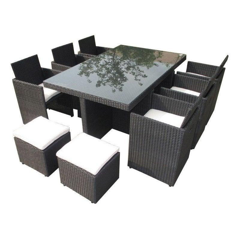 Salon de jardin Encastrable résine tressée noir 10