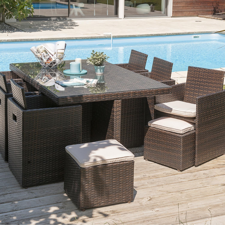 Table resine tressee salon de jardin terrasse