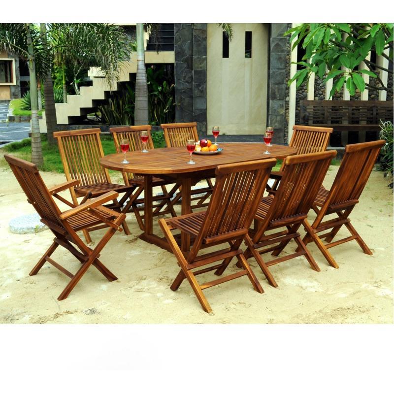 ensemble de jardin en teck salon 8 places table teck ovale