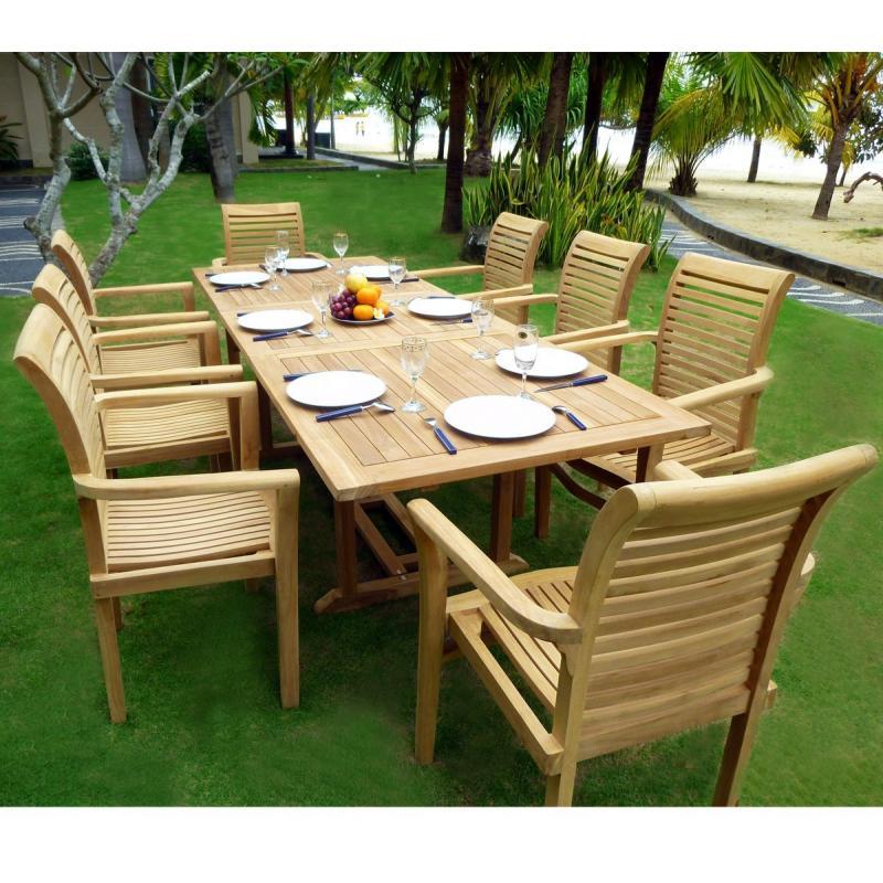 mobilier en teck de jardin table flores en teck brut avec