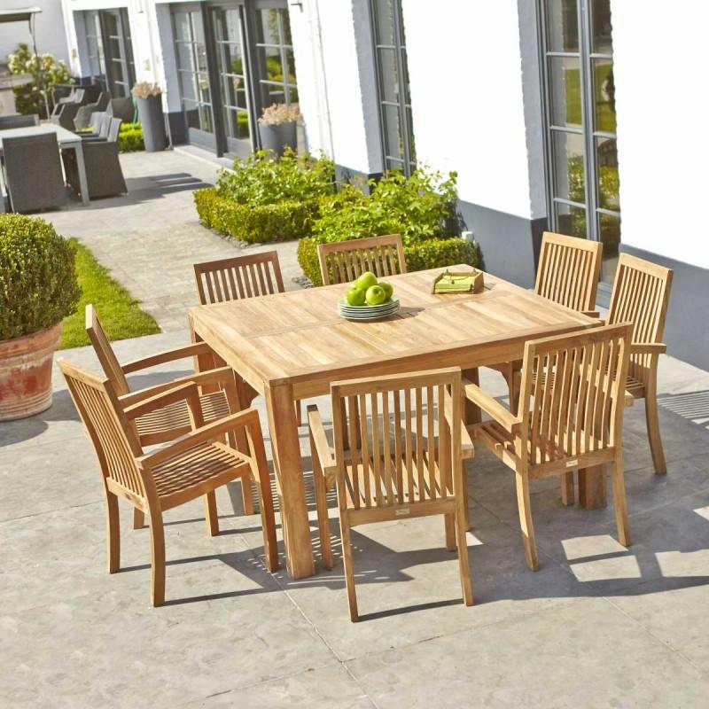 Salon de jardin en bois de teck MIDLAND 8 places Bois
